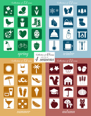 Four seasons vector icon set.