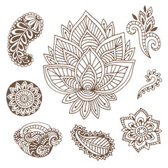 Hand drawn indian ornaments collection. Vector illustration with doodle flowers and paisley.  Creative art for henna tattoo design.