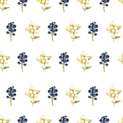 Seamless floral pattern. Background with berries.