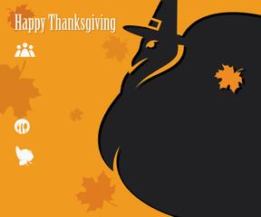 Happy Thanksgiving card with pilgrim turkey