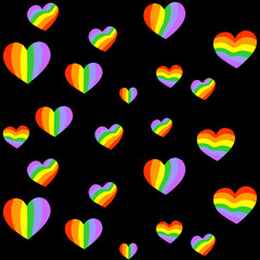 Vector pattern with many colorful rainbow emblems of hearts on space black background.
