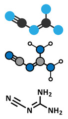 Dicyandiamide (2-cyanoguanidine, DCD) molecule.