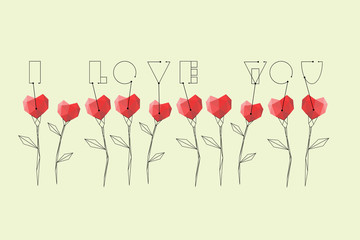 Abstract flowers with red polygonal and vintage hearts with text I Love You on the isolated dark background