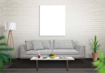 Isolated art canvas in living room for mockup. Brick white wall and black wooden floor. Sofa, table, lamp and plant in room.