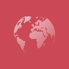 white earth on red background