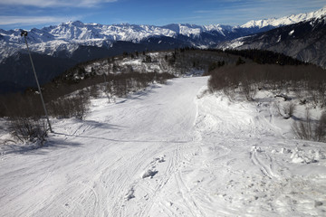 Top view on ski slope in nice sun day