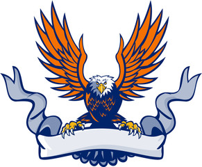 Bald Eagle Swooping Spread Wings Scroll Retro