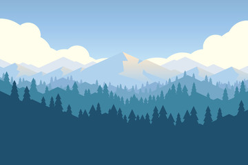 Vector mountain and forrest landscape in a daylight.
