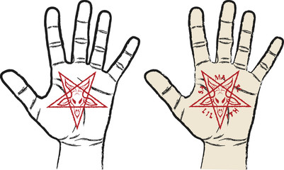 hand with inverted pentagram - symbol of satanism