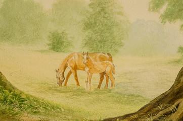 Gemälde von Stute und Fohlen