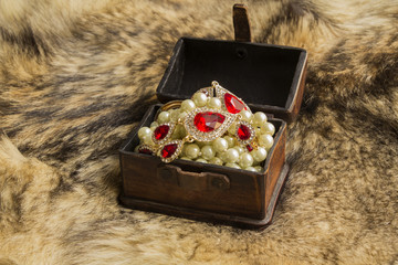 a casket with jewels on natural fur a wild Wolf