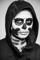 Woman painted like a skeleton