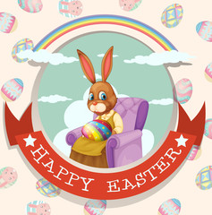 Happy Easter day with rabbit on the chair