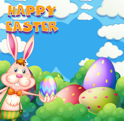 Happy Easter poster with bunny and eggs in the bush