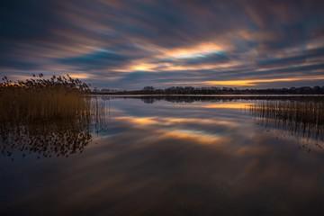 Long exposure lake sunset