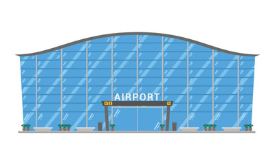 Cute cartoon vector illustration of an airport