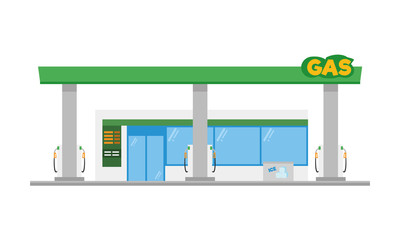 Cute cartoon vector illustration of a gas petrol station