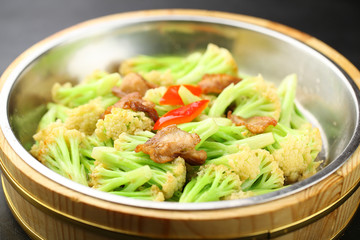 meat fried with organic cauliflower