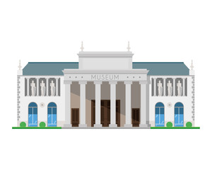 Cute cartoon vector illustration of a museum