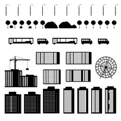 Set of silhouettes urban buildings isolated on white background.