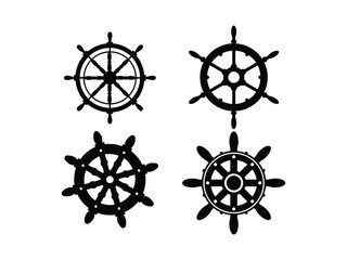 Steering wheel ship silhouette Set