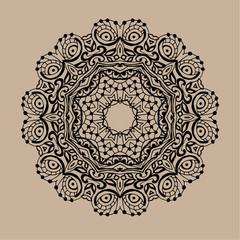 Hand drawn vector zentangle mandala - can be used as coloring book page for adults, card, invitation