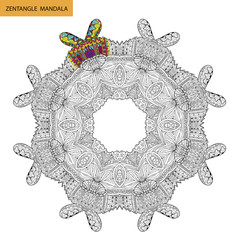 Zentangle mandala - coloring book page for adults, relax and meditation, vector, doodling