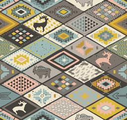 Seamless navajo pattern with rhombus. Pencil Drawing