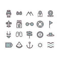 travel icon set vector. line icons
