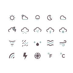 line icons set. weather icons concept.