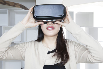 Women playing in the virtual reality of the game