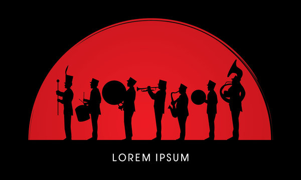 Silhouette Marching Band, parade, on sun rise background ,graphic vector.