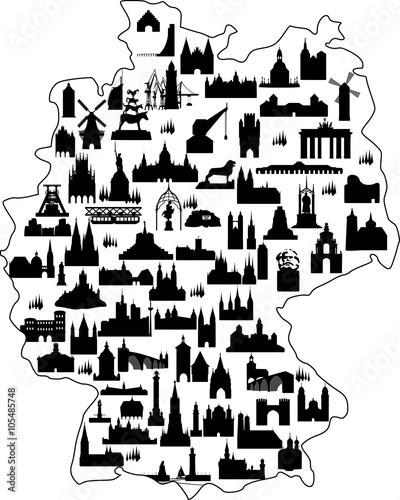 Deutschland Karte Sehenswürdigkeiten // Vektor