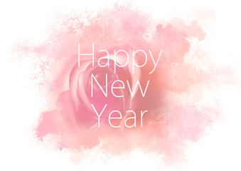 Happy New Year on pink watercolor abstract background