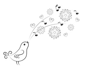 Vector object in singing bird with flowers and notes.