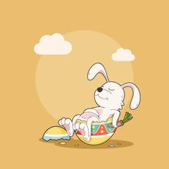 Happy sleep bunny with easter egg, Vector Illustration
