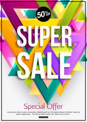 Abstract background with triangles and light effects. Super Sale banner template. 50% off. Special offer. Vector illustration.