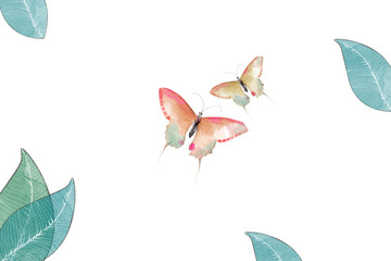 Creative Illustration and Innovative Art: Butterfly and Leaves. Realistic Fantastic Cartoon Style Artwork Scene, Wallpaper, Story Background, Card Design