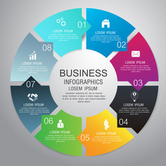 Vector circle infographic business template design. Can be used