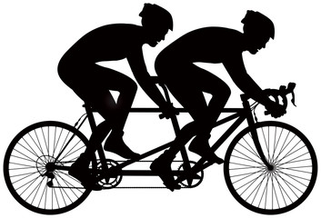 Bicycle tandem racer vector silhouette, cycle race derby sport series