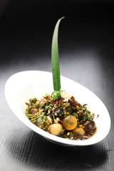 Stir fried chili peppers with century eggs