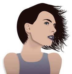 Donna con capelli al vento