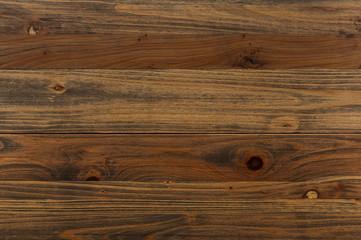 ヴィンテージ加工の木の板の背景。 ダークブラウンの木の板。横方向の木目
