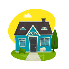 House building concept, cottage exterior, cartoon vector illustration