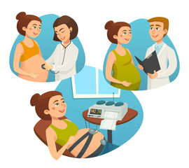 Pregnant woman with doctor, prenatal monitoring of pregnancy, vector cartoon illustrations