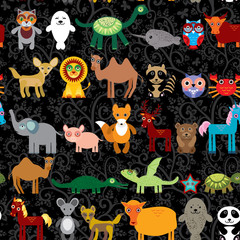 Set of funny cartoon animals character on  black seamless background