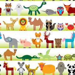 Set of funny cartoon animals character on  white seamless background