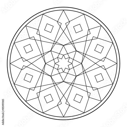 Mandala mit geometrischen Formen (Malvorlage)\