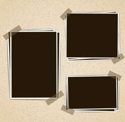 Photo frames composition with tape on retro background. Vector