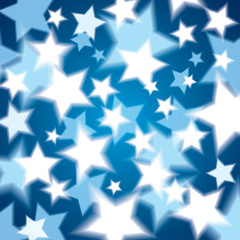 A lot of glowing stars on a blue background, abstract vector geometrical composition of the stars